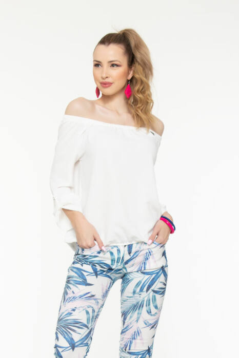 Trixi gumisnyakú blúz - fehér