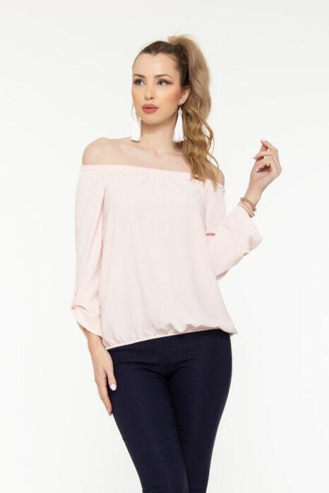 Trixi gumisnyakú blúz - pasztell rózsaszín