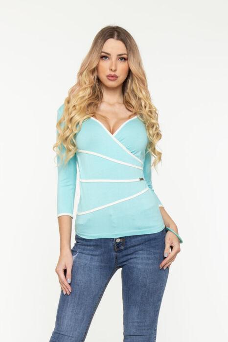 Detti átlapolt póló - kék/fehér