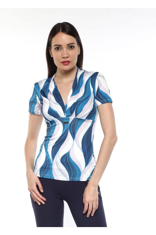 """Rakott elejű, """"V"""" dekoltázsú póló -  kék/fehér/púder hullámmintás"""