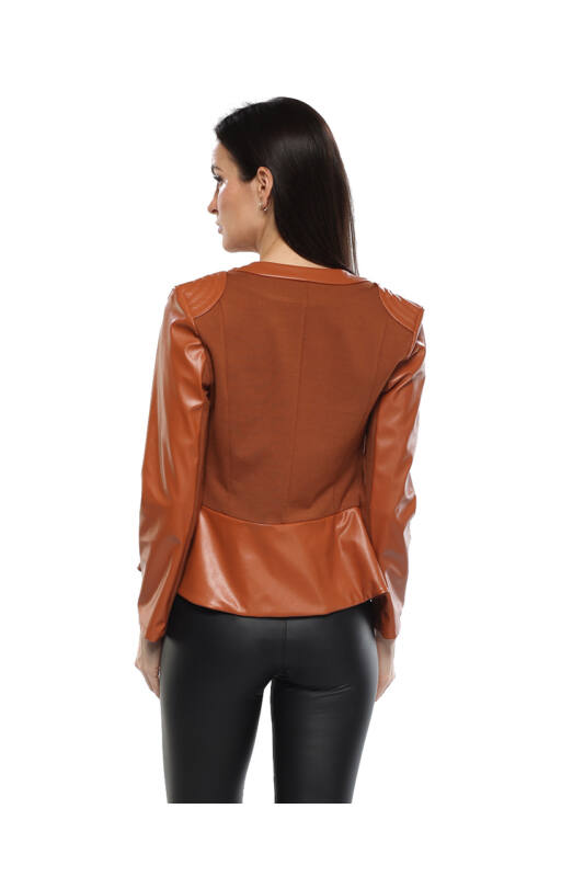Bőrhatású dzseki Barna TARA Collection Mya & L'Luisa