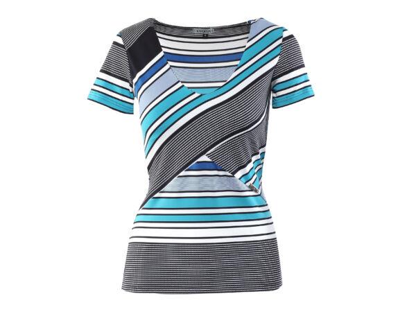 """Csíkos mintás """"V"""" dekoltázsú póló - Kék, fehér, fekete"""