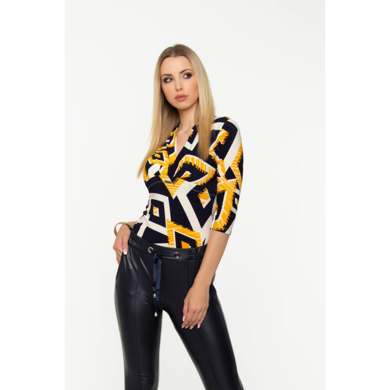 Szonja póló - sárga/fekete/fehér mintás