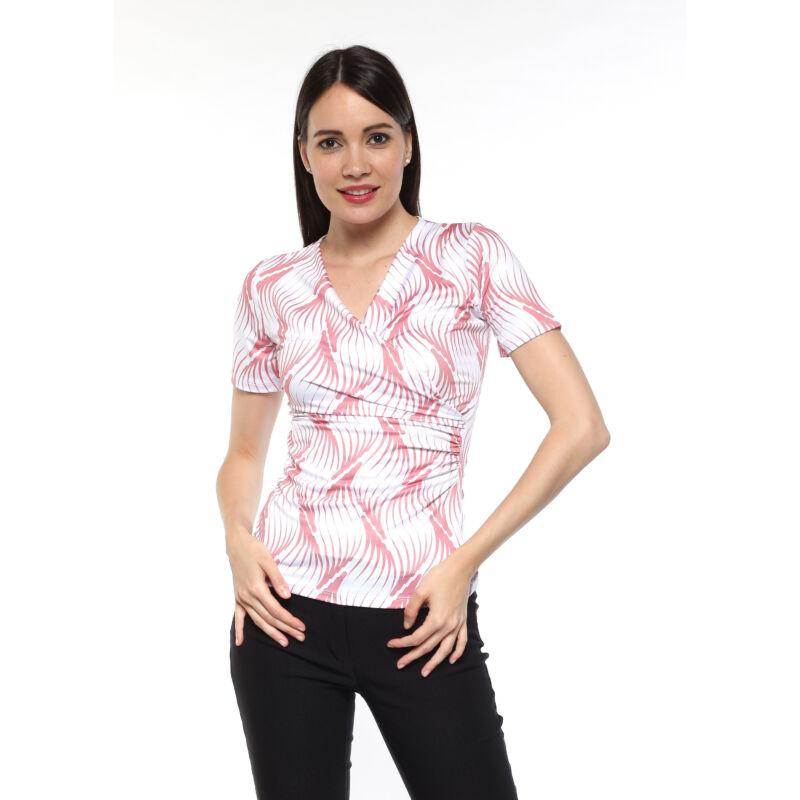 Átlapolt elejű, rövidujjú felső - rózsaszín/fehér mintás
