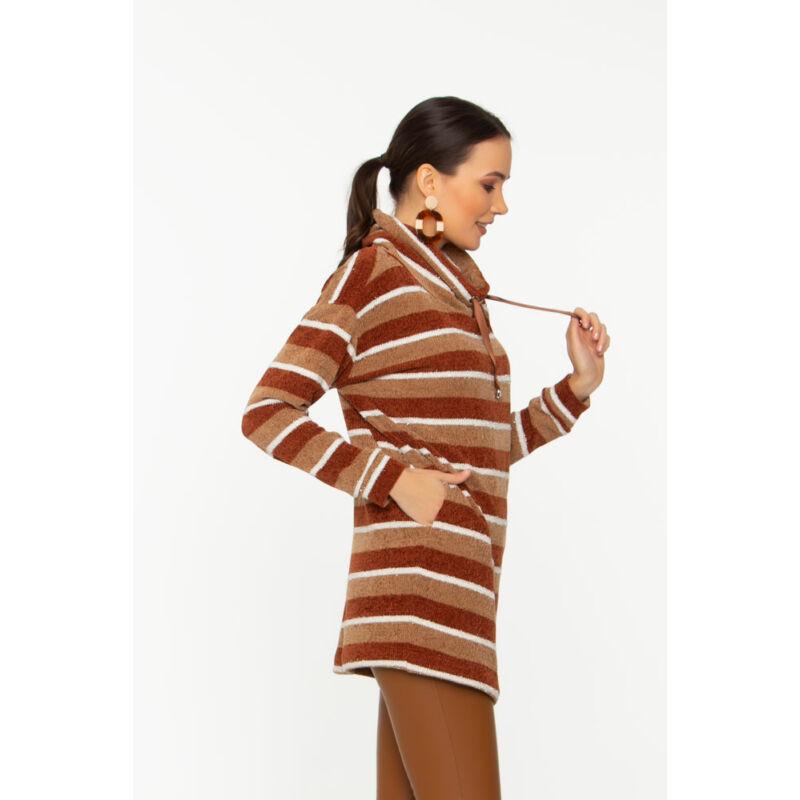 Helga pulóver- rozsda/fahéj/fehér/lurex csíkos