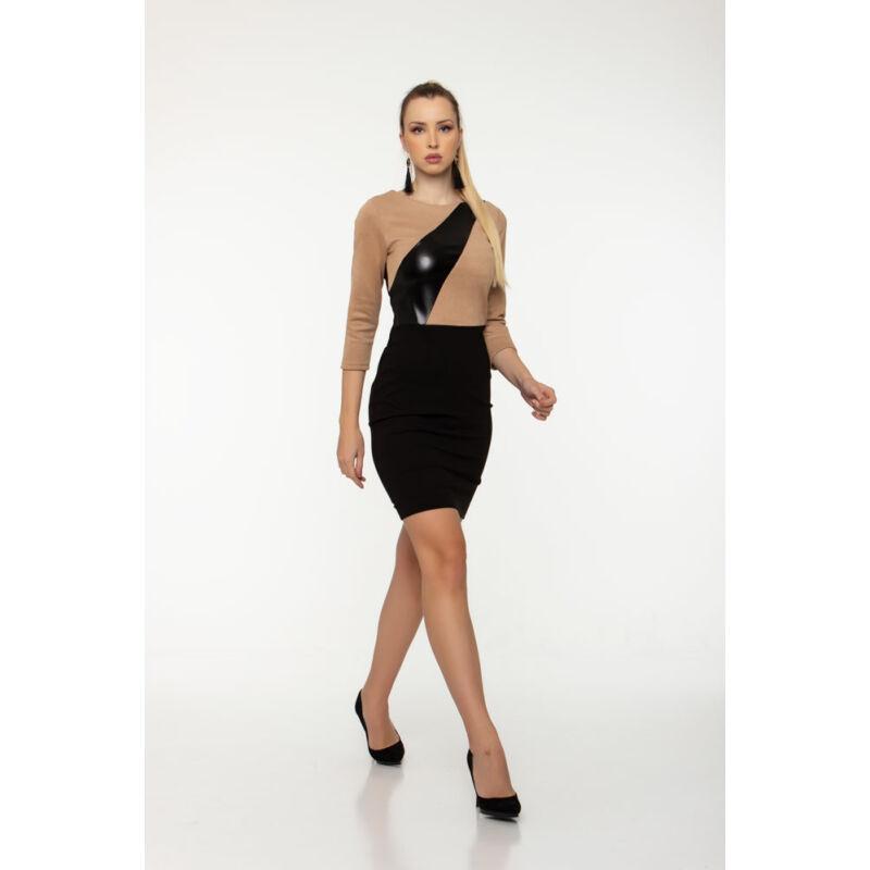 Flóra ruha - zsemle/fekete