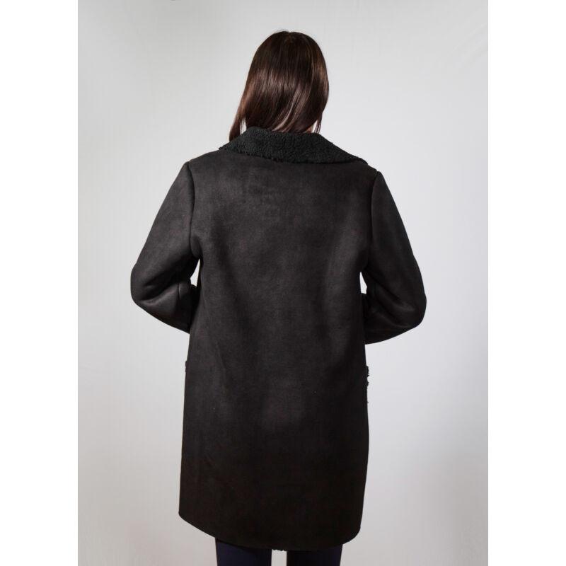 Roxána kabát - Fekete/fekete szőr