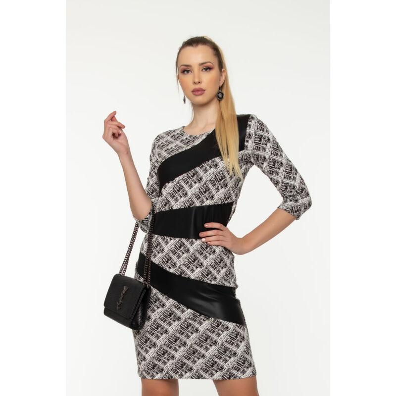 Sugár ruha - fehér/fekete